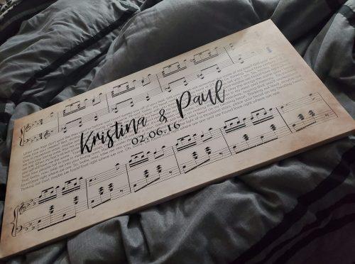 Custom Wedding Names & Date Sheet Music Song Canvas Art photo review